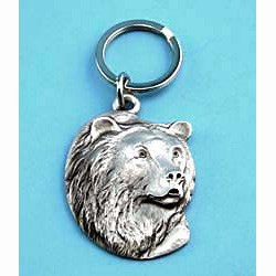 Grizzly Bear Pewter Keychain