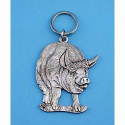 Pig Pewter Keychain
