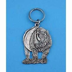 Rhinoceros Pewter Keychain
