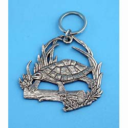 Turtle Pewter Keychain