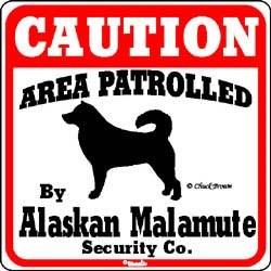 Alaskan Malamute Caution Sign