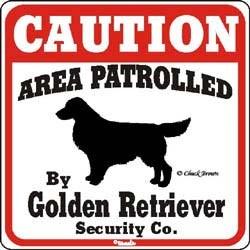 Golden Retriever Caution Sign