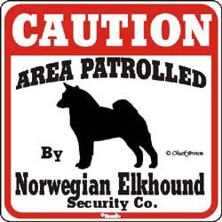 Norwegian Elkhound Caution Sign