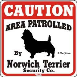 Norwich Terrier Caution Sign