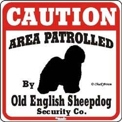 Old English Sheepdog Caution Sign