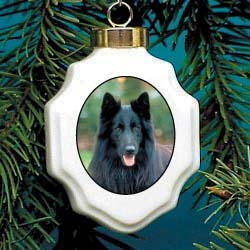 Belgian Sheepdog Christmas Ornament Porcelain