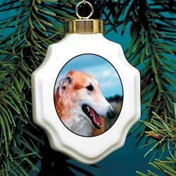Borzoi Christmas Ornament Porcelain