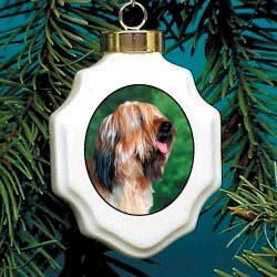 Briard Christmas Ornament Porcelain