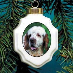 Clumber Spaniel Christmas Ornament Porcelain