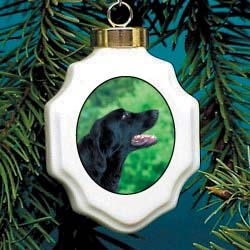 Flat Coated Retriever Christmas Ornament Porcelain