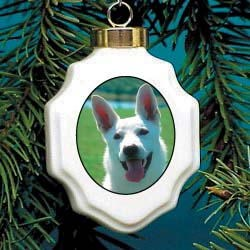 German Shepherd White Christmas Ornament Porcelain