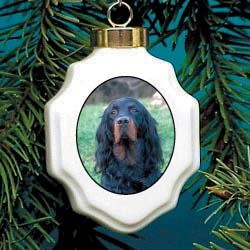 Gordon Setter Christmas Ornament Porcelain