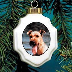 Irish Terrier Christmas Ornament Porcelain