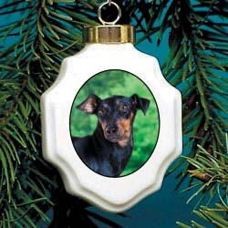 Manchester Terrier Christmas Ornament Porcelain