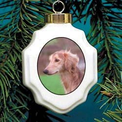 Saluki Christmas Ornament Porcelain
