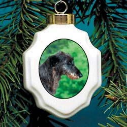Scottish Deerhound Christmas Ornament Porcelain