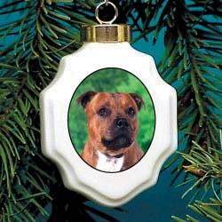 Staffordshire Bull Terrier Christmas Ornament Porcelain