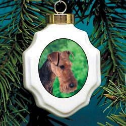 Welsh Terrier Christmas Ornament Porcelain