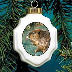 Beaver Christmas Ornament Porcelain