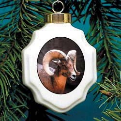 Big Horn Sheep Christmas Ornament Porcelain