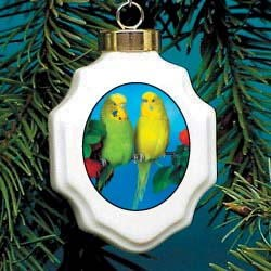 Budgie Christmas Ornament Porcelain
