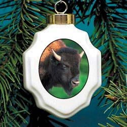 Buffalo Christmas Ornament Porcelain