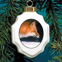 Fox Christmas Ornament Porcelain