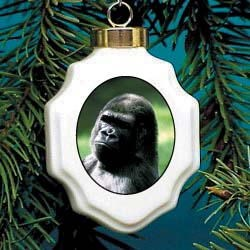 Gorilla Christmas Ornament Porcelain