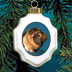 Guinea Pig Christmas Ornament Porcelain