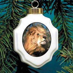 Lion Christmas Ornament Porcelain