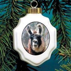 Llama Christmas Ornament Porcelain