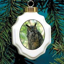 Owl Christmas Ornament Porcelain