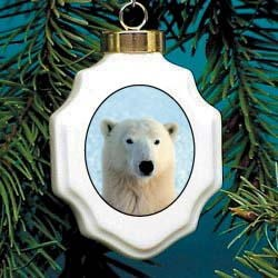 Polar Bear Christmas Ornament Porcelain