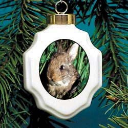 Rabbits Christmas Ornament Porcelain