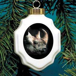 Rhinoceros Christmas Ornament Porcelain