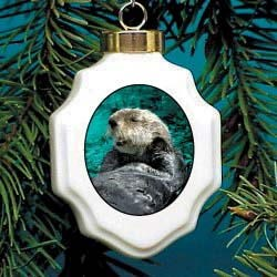 Sea Otter Christmas Ornament Porcelain