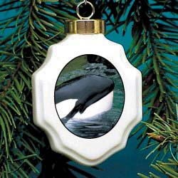 Whale Christmas Ornament Porcelain