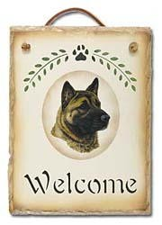 Akita Slate Welcome Sign