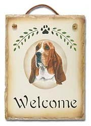 Basset Hound Slate Welcome Sign