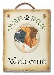 Boxer Slate Welcome Sign