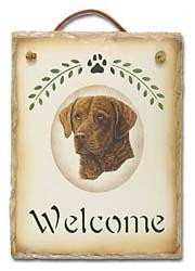 Chesapeake Bay Retriever Slate Welcome Sign