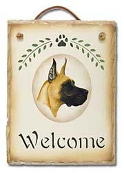 Great Dane Slate Welcome Sign