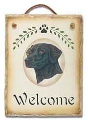 Black Lab Slate Welcome Sign