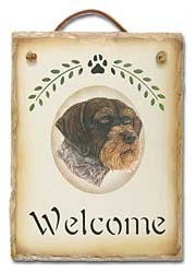 German Wirehaired Pointer Slate Welcome Sign