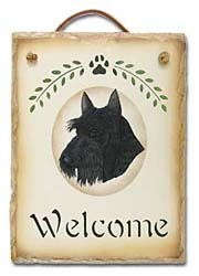 Scottish Terrier Slate Welcome Sign