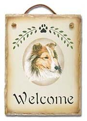 Shetland Sheepdog Slate Welcome Sign
