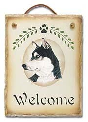 Siberian Husky Slate Welcome Sign