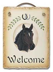 Thoroughbred Horse Slate Welcome Sign
