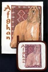 Afghan Hound Dish Towel & Potholder