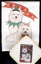 American Eskimo Dog Dish Towel & Potholder
